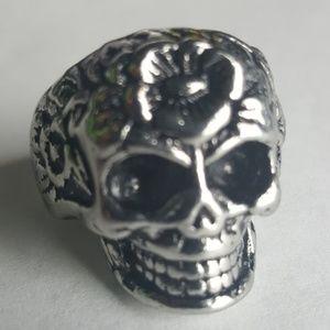 skull Accessories - Skull Roses Punk Rock Biker Ring Gothic VTG Metal